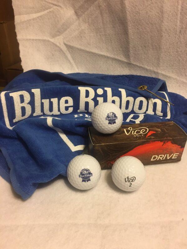 Golf Balls and Golf Towel, Pabst Blue Ribbon, PBR Beer Logo