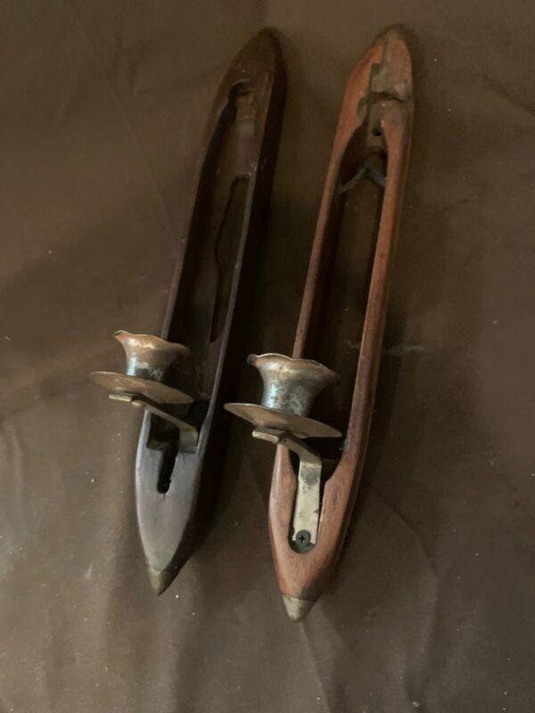 Antique weavers shuttle candleholders