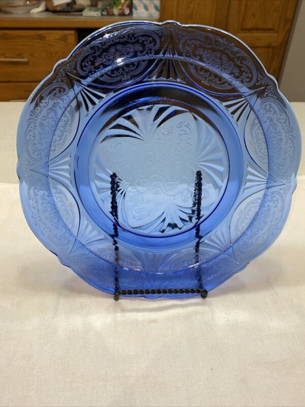 "1 Hazel Atlas Royal Lace Cobalt Blue Dinner Plate(s) 9 7/8""  -7 Available"