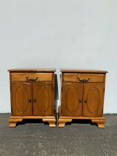 Pair of Nightstands Storage Wood Chests Traditional Country American Furniture