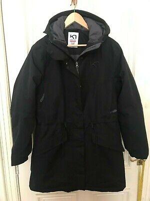 Kari traa Women's black hooded parka quilted Long Coat  Size medium ( M )