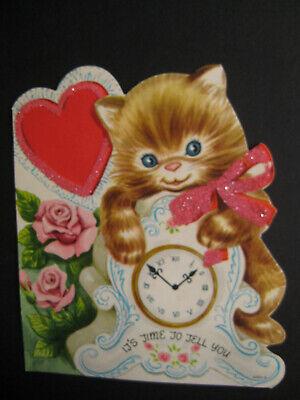 1950s vintage greeting card flat school VALENTINE Cat w/ Clock, Roses - flocked