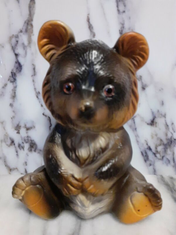 VINTAGE Adorable Bear Coin Bank-Ceramic With Glass Eyes Made In Japan