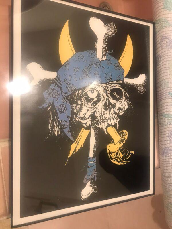 Zorlac Skateboard pirate Blue Framed in 8x11.