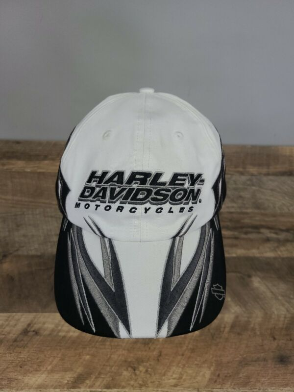 Harley Davidson Motorcycles White Black Baseball Hat Cap Heavy Duty Adjustable