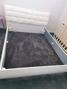 White PU leather Queen bed