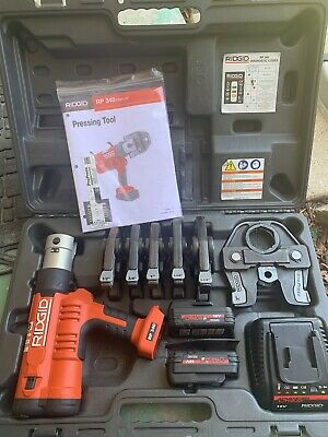 Rigid Rp340 Pro Presswith Jaws12up To 2charger And 2 Batts Tool Is Used