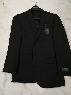 Pronto Uomo Black Pin Stripe 100% Wool Blazer Jacket Suit Separate 42L +FreeSuit Stripe Suit Separates