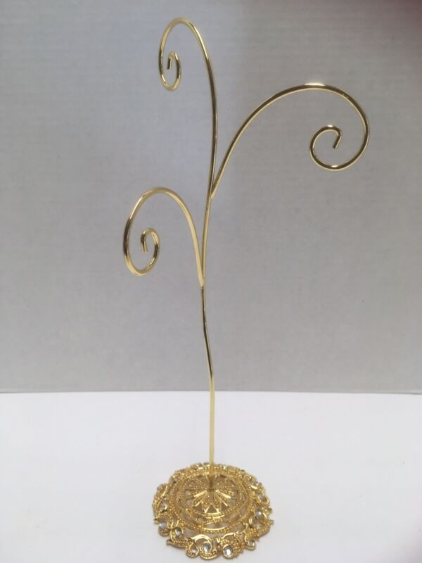 """12"""" CHRISTMAS ORNAMENTS DISPLAY HOLDER STAND GOLD TONED PEWTER JEWELED BASE"""