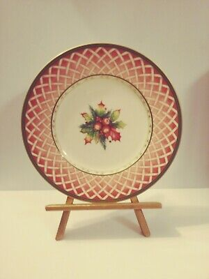 Fritz And Floyd Winter Holiday Rose Wreath Salad Plate 9 1/4