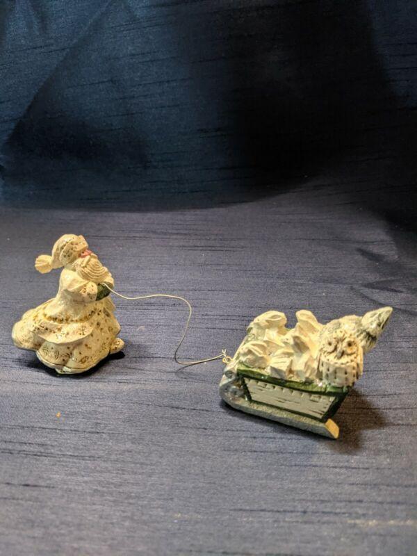 PAM SCHIFFERL Winter White SANTA Sled Fox Owl Rabbit MIDWEST OF CANNON FALLS