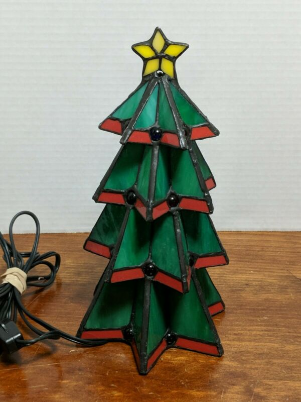 Vintage Tiffany Christmas Tree Accent Lamp Stained Glass Electric