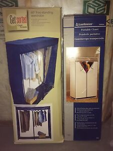 Portable closets and hanging organizers.