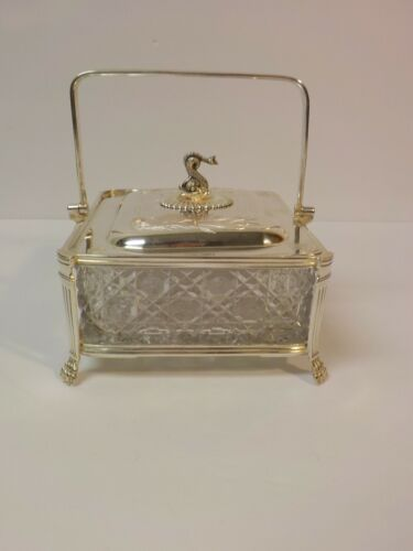 Victorian Era English Silver Plate Novelty Sardine Box, Glass Insert