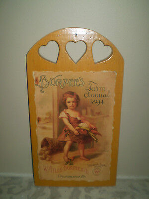 "Vintage Burpee's Farm Annual Seed Ad 1894 ""The Little Kitchen Friend "" On Wood"