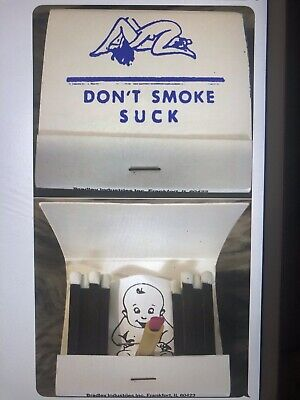 """Vintage Unused Match Book 3-D """"Don't Smoke, Suck"""" Open For A Surprise"""