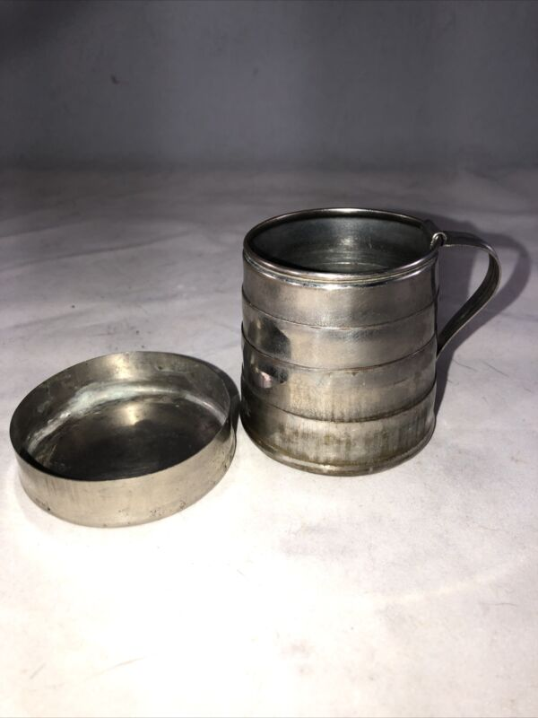 RARE ANTIQUE COLLAPSIBLE METAL DRINKING CUP & COVER - HERO MARK OCT 8 1912