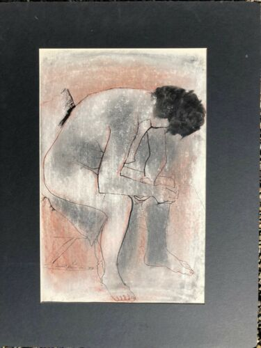 Sitting Nude Leaning Forward Mixed Media Drawing-1957-August Mosca