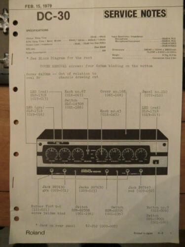 Roland boss dc 30 analog chorus delay service notes original 1979