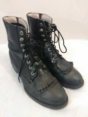 Ariat Lace Up Leather Equestrian Paddock Muck Riding Boots Women's 6.5 B Black  Ariat Lace-up Boots