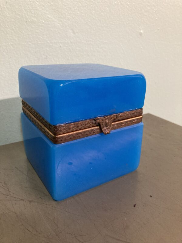 Blue Opaline French Trinket Box Antique