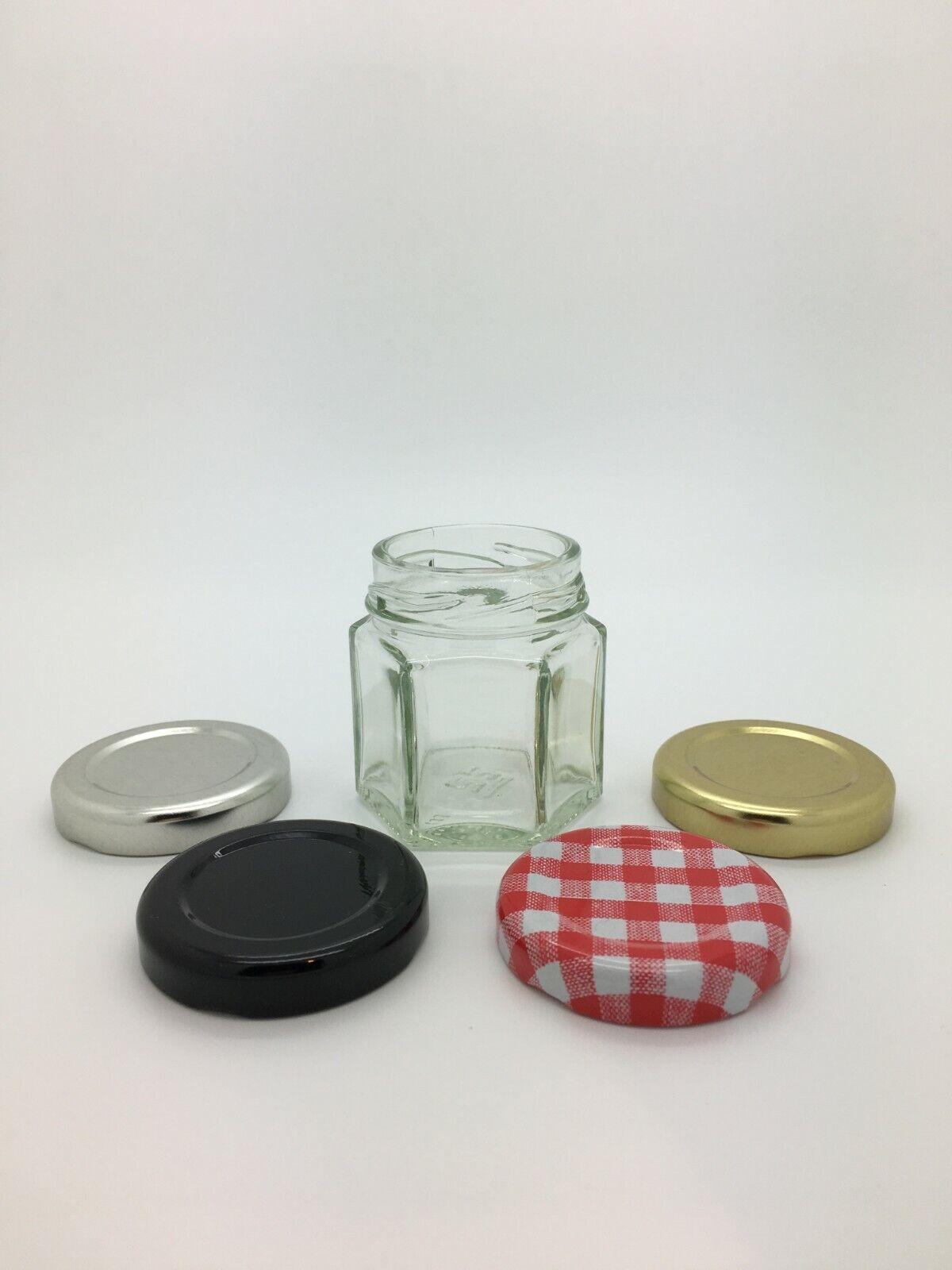 Mini Hexagonal Glass Jam Jars 45ml wedding favours, honey, p
