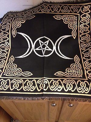 "Triple Moon Pentagram Altar Cloth 24x24""   GOLD AND BLACK WICCAN PAGAN"