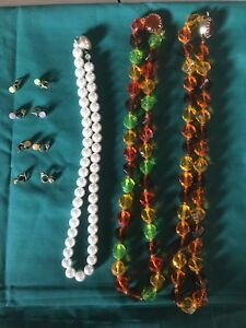 Vintage Costume Jewelry Neclaces And Earrings