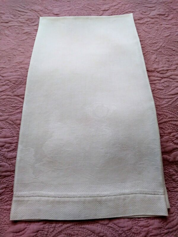 "Gorgeous Floral Heavy Damask Huck Linen Hemstitched Show Towel 39""x24"" #2"