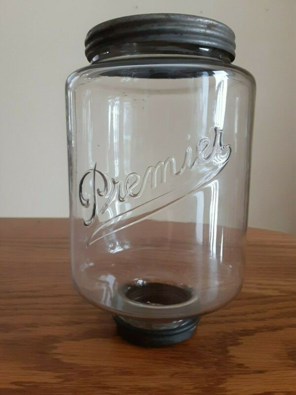 Vintage Premier coffee grinder glass jar with cover and rubber seal