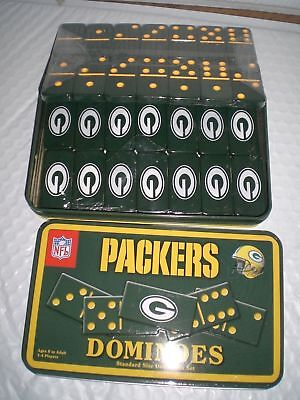 NEW Licensed NFL Green Bay Packers Dominoes Game Collectible Tin Box 28 Pcs  (Green Bay Packers Collectibles)