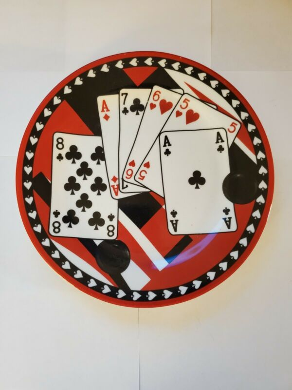 Poker Decorative Ceramic Plates 6 Plates in the Set
