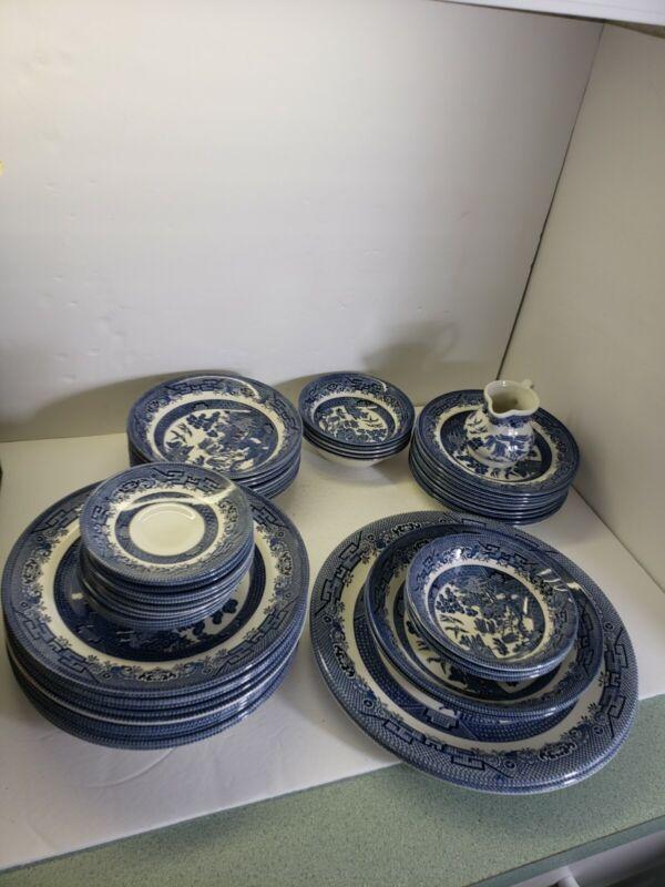 52 Piece Churchill BLUE WILLOW Set   England Bowls plates saucers