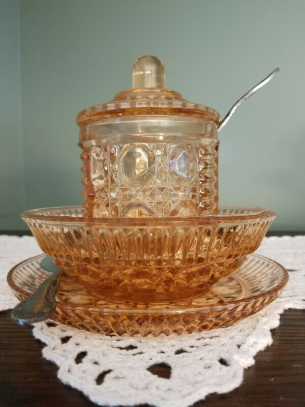 Indiana Glass Peach Ballad Sauce/Dressing/Cereal Set & Condiment Jar With Spoons