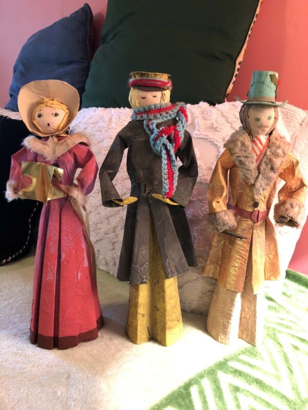 3 Vintage Paper Mache Caroler Figurines by DOUBLE*GLO with Original Boxes