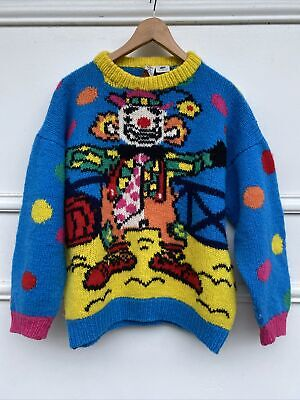 80s Sweatshirts, Sweaters, Vests | Women Vintage 80s Target Red Clown Polka Dot Sleeves 100% Wool Knit Jumper M Chunky $81.67 AT vintagedancer.com