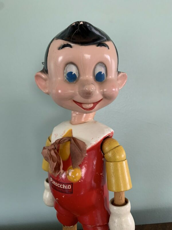 """Disney Pinocchio 11"""" Jointed Composition Wood Doll Figure by Ideal Novelty Co"""
