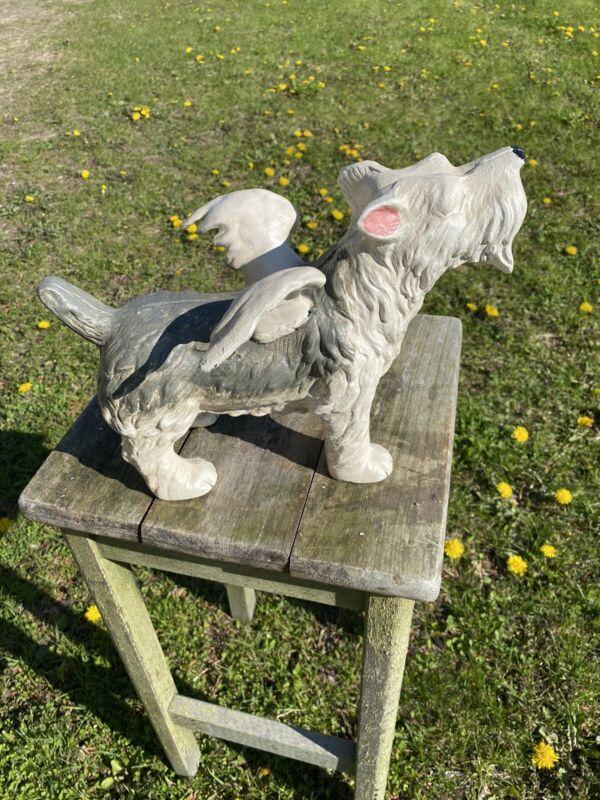 Vintage Cast Iron Heavenly Angel Winged Scottish Terrier Dog Figurine Heavy!