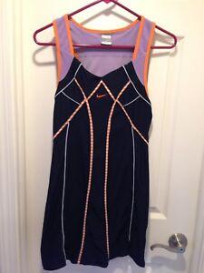 NIKE Serena Williams Navy Blue Lavender Orange Tennis Dress Sz Small (4-6)