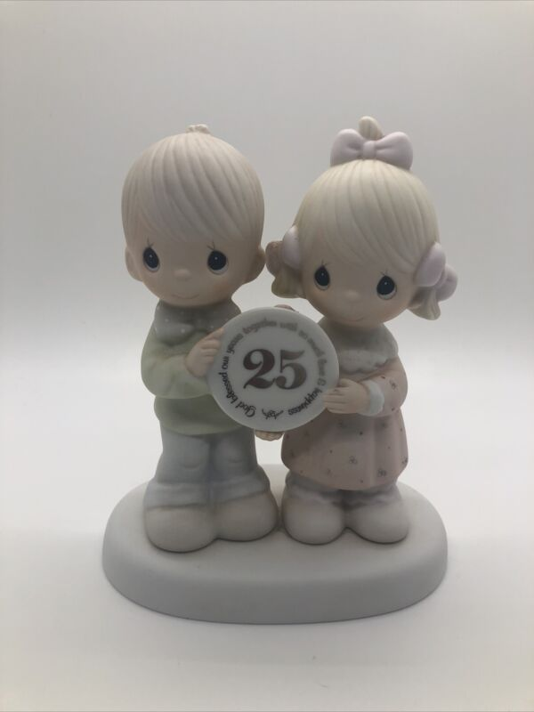 PRECIOUS MOMENTS 1983 GOD BLESSED OUR YEARS TOGETHER 25TH ANNIVERSARY FIGURINE