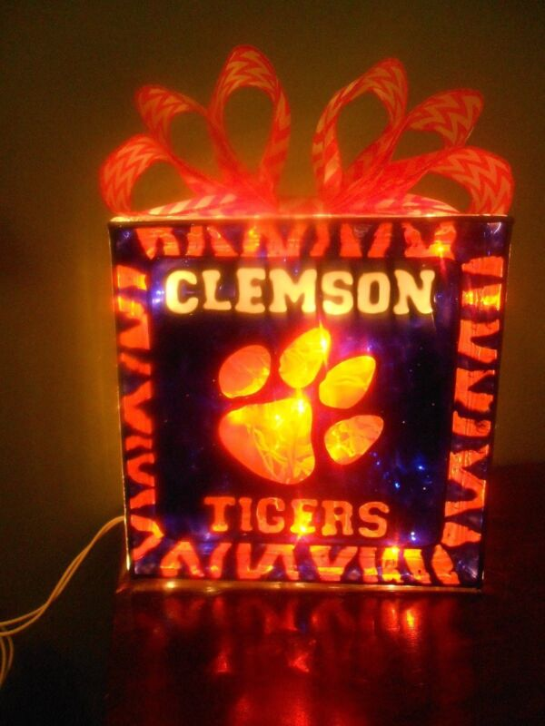 Clemson Tigers inspired Lighted Hand Painted Glass Block