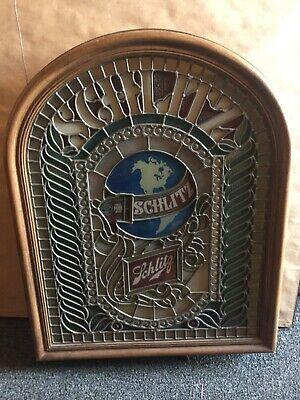 Vtg Rare 1986 Schlitz Beer Faux Tiffany Glass Advertising Light Up Bar Sign !