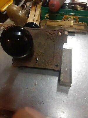 Vintage Black Porcelain Metal Doorknob And RL CO Surface Mount Rim Door Lock BP1
