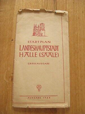 alter Stadtplan Landeshauptstadt Halle Saale Großausgabe 1948 mit Verzeichnis