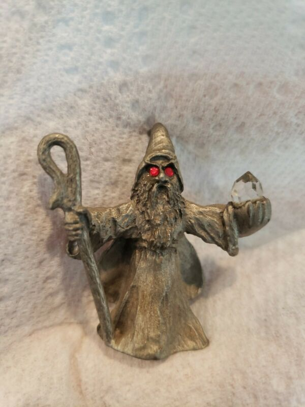 Spoontiques 538 Pewter Wizard Sorcerer Figurine Ruby Red Eyes Crystal Staff 1984