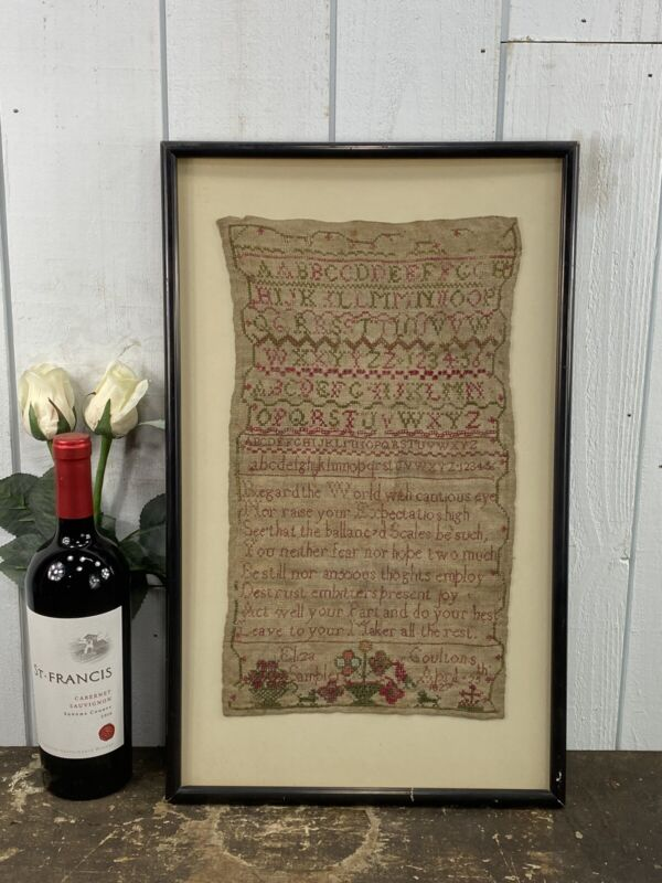 Antique Dated April 25, 1827 Early Sampler Eliza Goultons Nice Old Backing