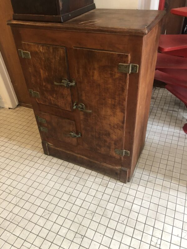 Antique Solid Wood Ice Box Vintage Refrigerator