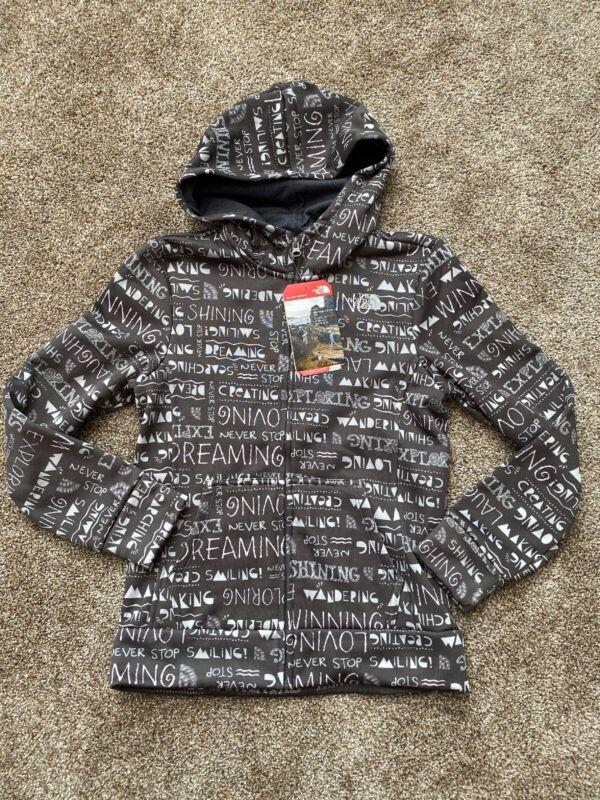 NWT North Face Girls SURGENT ZIP FRONT HOODY Scribble Print Fleece Lined M 10-12