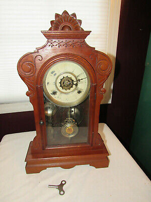 "Antique 1880s Waterbury Clock Co. ""Melrose"" Shelf Mantel Pendulum Clock"