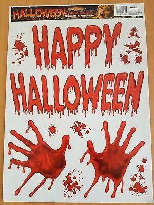 Happy Halloween Blut-Hände Wall Unheimlich Aufkleber Vinyl Living Abnehmbar UK ()